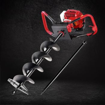 Giantz 80CC Petrol Post Hole Digger Drill Borer Fence Extension Auger Bits 200mm Red & Black