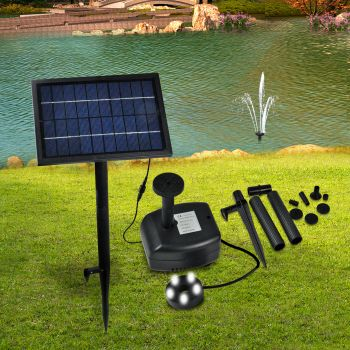 Solar Powered Fountain Outdoor Fountains Submersible Water Pump Pond White