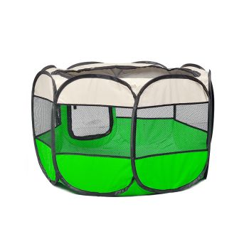PaWz Portable Pet Soft Playpen Puppy Play Round Crate Cage L in Green