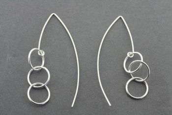 3 drop ring earring - sterling silver
