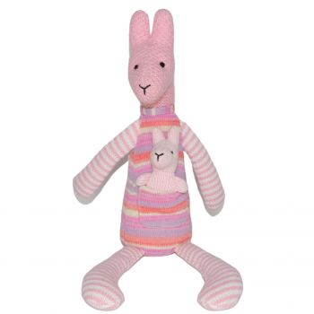Plush Toy Kangaroo & Baby Joey - Pink/Stripe