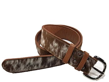 Marie (WIDE) – Tan and White Cowhide Belt with Silver Buckle