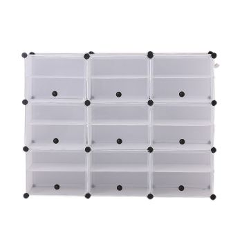 6 Tier Cute Cabinet Stackable Organiser for Shoes in White with 3 Columns
