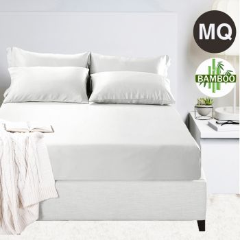 Mega Queen Bed 400TC Bamboo Cotton 1  Fitted Sheet with 2 Pillowcases in White