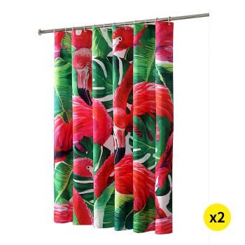 Flamingo Print Shower Curtain with 12 hooks 180 x 180cms for 2 pcs