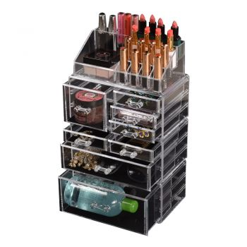7/8/9/10/11  Drawers Cosmetic Makeup Organiser Storage Jewellery Acrylic Clear Box
