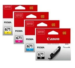 Canon CLI671 Black Cyan Magenta and Yellow Bundle Pack
