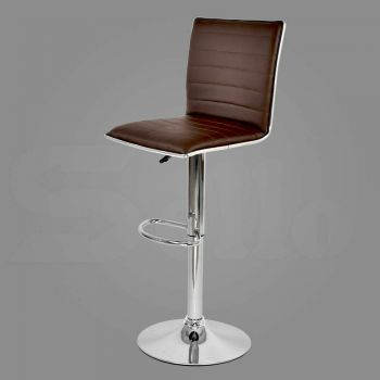 2x Levede PU Leather Swivel Bar Stools Adjustable Gas Lift Chairs in Brown