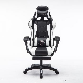 Mason Taylor Gaming Office Chair Home Computer Chairs Racing PVC Leather Seat White