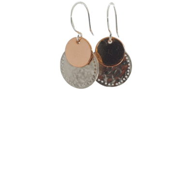 Double Disc Matte Textured Silver With Rose Gold Dangles