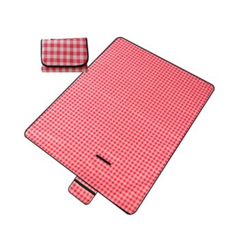 GOMINIMO Large Waterproof Picnic Blanket Red Outdoor Camping Rug Soft Oxford Cloth Mat