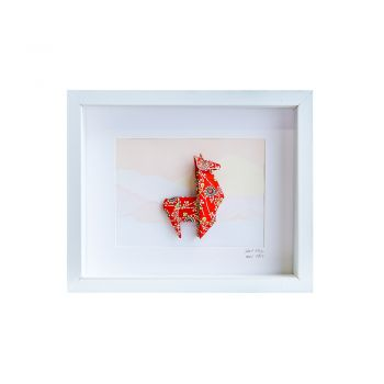 Small White Frame Llama Red