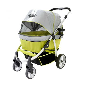 Ibiyaya Collapsible Elegant Retro I Pet Stroller for Cats & Dogs up to 35kg - Green