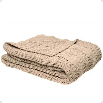 Luxury Cotton Knitted Throw 130x170cm Solid Beige