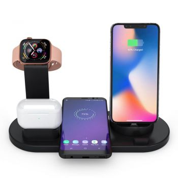 Xcessories Wireless Charger Dock for iPhone, Apple Watch & Air pods - Black