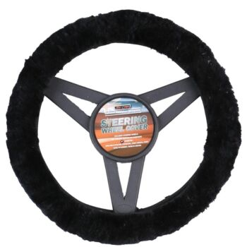 Sheepskin Steering Wheel Cover Luxury - Black