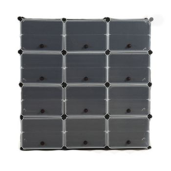 8 Tier Cute Cabinet Stackable Organiser for Shoes in Black with 3 Columns