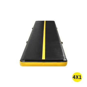 4x1M Inflatable Air Track Mat for Home Gymnastics in Yellow