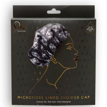 Damask Print Shower Cap - Microfibre Lined