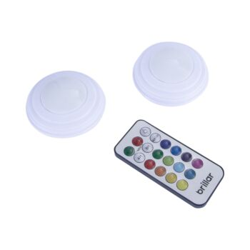 Brillar Remote Controlled Colour Changing Puck Lights 2pk