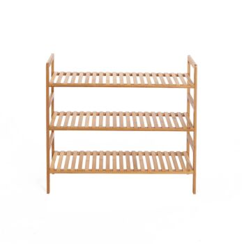 Sherwood Home 3-Tier Essential Natural Bamboo Shoe Rack - Light Brown- 70x27x60cm