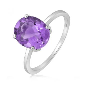 925 Sterling Silver Ring with Large Solitare Oval Facet Amethyst