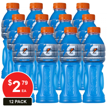 12 Pack, Gatorade 600ml Blue Bolt