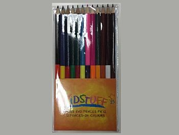 Kidstuff Double Ended Colour Pencils - Pack of 12