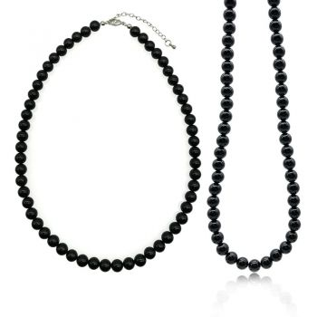 8mm Natural Round Black Agate Beaded Gemstone Necklace