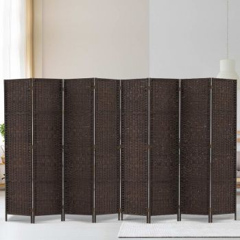 Artiss 8 Panel Room Divider Screen Dividers Privacy Rattan Wooden Stand Brown
