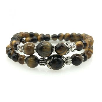 Men's 6-10mm Natural Tiger Eye Double Row Beaded Stretch Bracelet