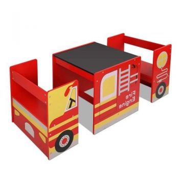 Kids Table & Chair Set With Blackboard in Fire Truck Concept