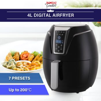Kitchen Couture 4 Litre Air Fryer Digital Display Black 1400W Healthy Cooker