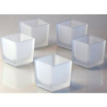 24 Pack Frosted Square Cube 5cm Clear Glass Tealight Votive Candle Holder Wedding Event table Decoration