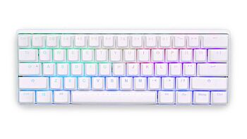 Vortex Poker 3 60% RGB Backlit White 61 Keys Compact Mechanical Gaming Keyboard Cherry MX Blue Clicky Switches