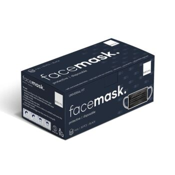 Protective Black Face Mask - Universal Fit 4ply Disposable (50 Pack)