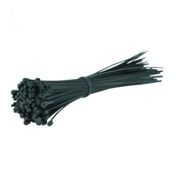 280Mm X 7.6Mm X 100 Cable Ties Black