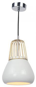 PENDANT LIGHT BRASS METAL WIRE WHT PORCELAIN 18X145CM