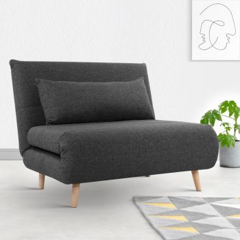 Sofa Bed Lounge King Single Seater Futon Couch Linen Fabric Wood Legs Dark Grey
