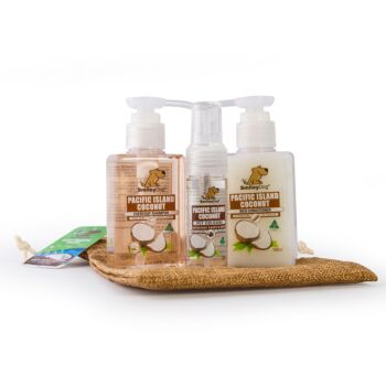 Smiley Dog Travel / Gift Pack in Hessian Bag - Natural Pacific Island Coconut Shampoo 100ml , Conditioner 100ml  & Cologne 30ml