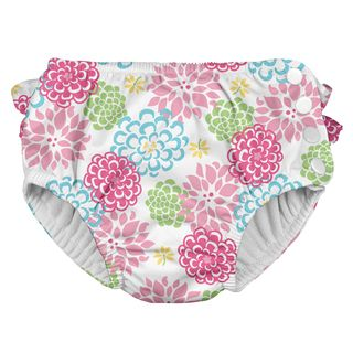 Ruffle Snap Reusable Absorbent Swimsuit Diaper-White Zinnia