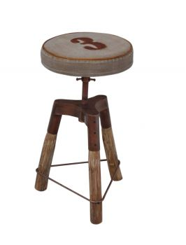 Industrial Number 3 Wind Up Bar Stool
