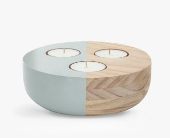 Large Wooden Bowl Maxi Tea Light Holder - Green