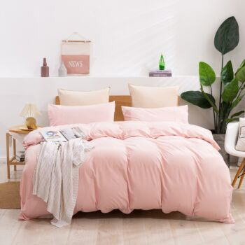 Dreamaker cotton Jersey Quilt Cover Set Queen Bed Pink