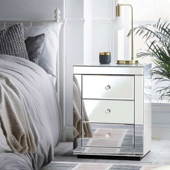 Mirrored Bedside tables Drawers Crystal Chest Nightstand Glass Silver