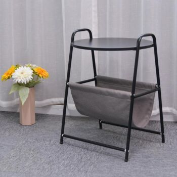Sofa Side Table End Table Nightstand with Fabric Storage