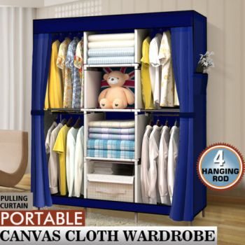Large Portable Clothes Closet Wardrobe Storage Organiser with Shelves in Navy