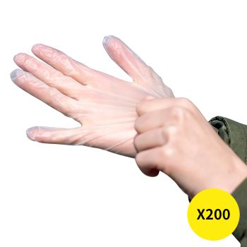 200pcs Kitchen Gloves Disposable Dish Washing Clear Vinyl Cleaning