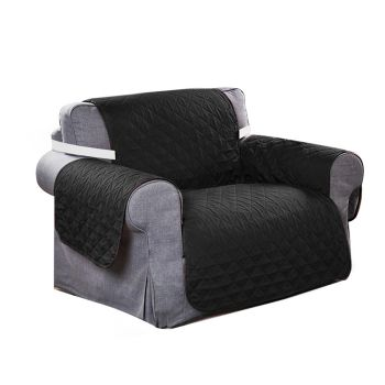 Sofa Cover Couch Protector Quilted Slipcovers Waterproof Black 173cm x 200cm