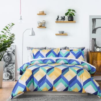 Dreamaker 250Tc Printed Cotton Sateen Quilt Cover Set Queen Bed - Yarm